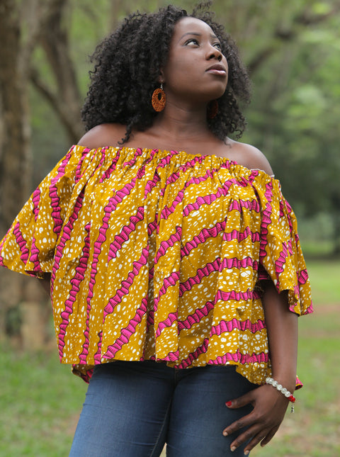Ankara African Print Off-Shoulder Top