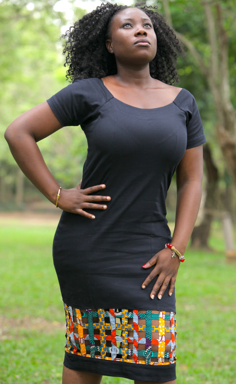 Cotton Pencil Dress with Ankara Web Basket