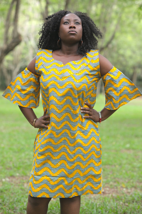 Ankara African Print Wavy Off-Hand Straight Dress