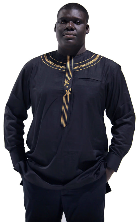 African Embroidery Design Long Sleeves Black Shirt And Pants
