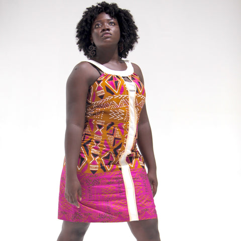 Ankara African Print Cut-Out Halter Shift Dress