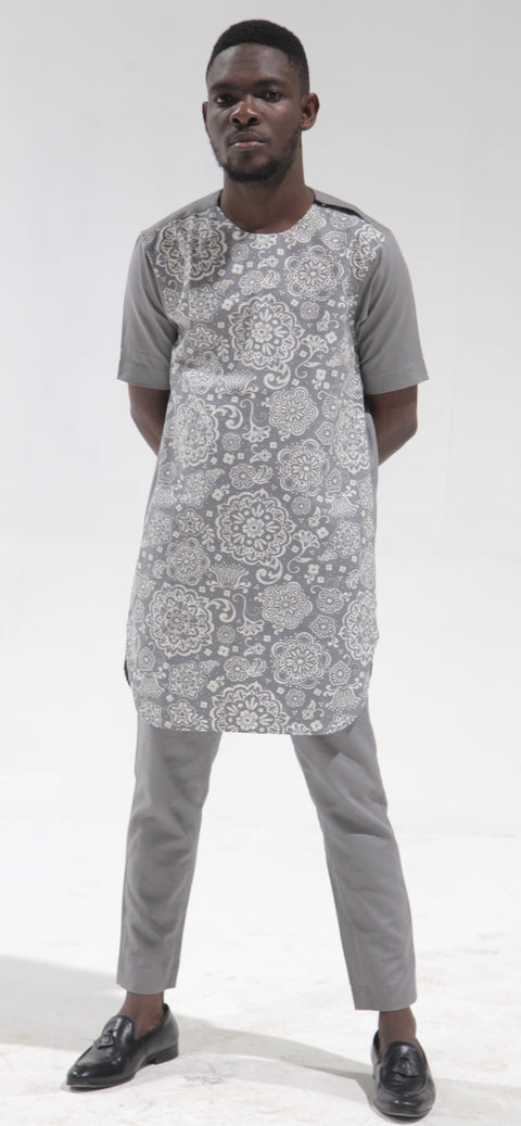Men's Short Sleeve Linen Kaftan and Pants. Polished Cotton option