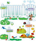 Seasonal Fence Bulletin Board Set