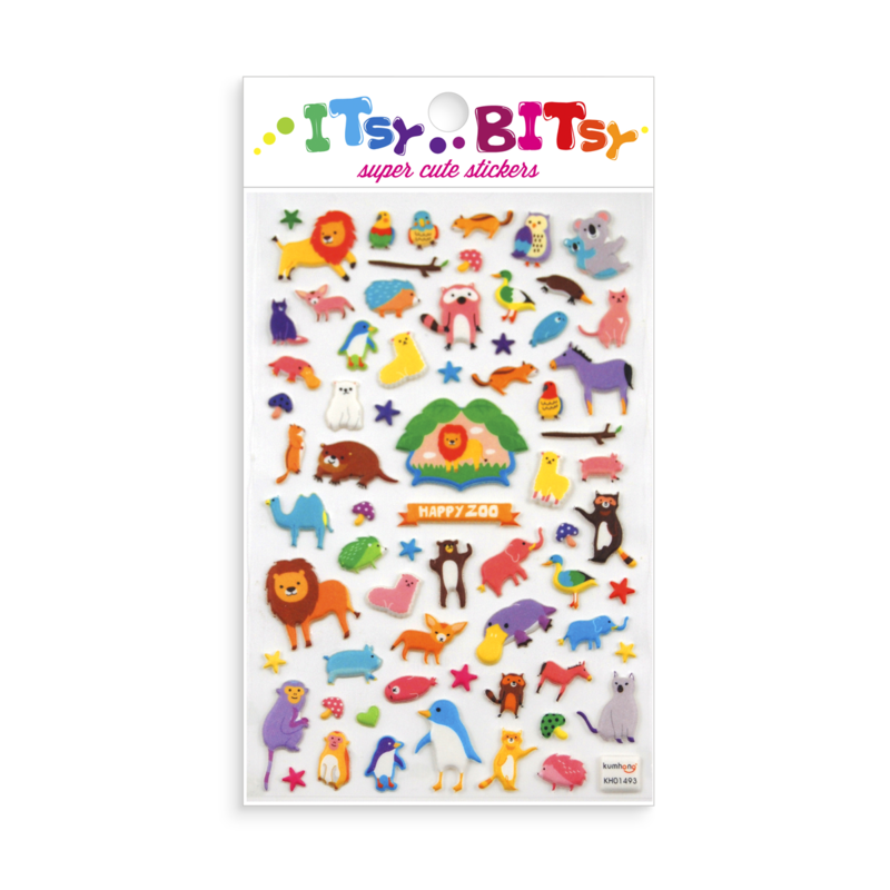 Itsy Bitsy Super Cute Stickers - Happy Zoo