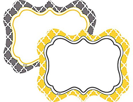 Lemon & Gray Wild Moroccan Name Tags/Labels