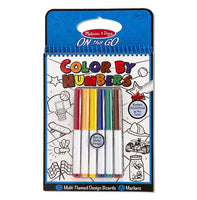 On the Go Color by Numbers Kids' Design Boards With 6 Markers - Playtime, Construction, Sports, and