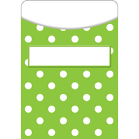 Lime Polka Dots Library Pockets