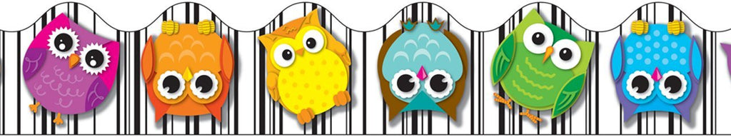 Colorful Owls Scalloped Borders