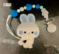 Chewelry Pacifier Clip- White Rabbit w/ Blue Ears.