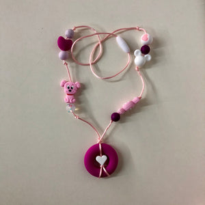 28 Inch Chewelry Necklace- Hot Pink Donut/Hearts