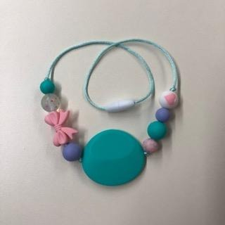 20 Inch Toddler Chewelry Necklace- Teal/ Bows