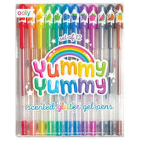 New Yummy Yummy Scented Glitter Gel Pens - Set of 12 (Larger Packaging)