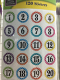 Polka Dots Number Stickers — 120 count