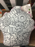 Color Me cupcake coloring pillow