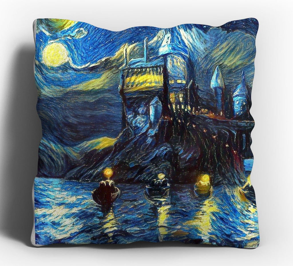 Hogwarts Castle Throw Pillow Cover 16x16, Harry Potter Merchandise, Van Gogh Starry Night, Fan, Birthday, Christmas Gift
