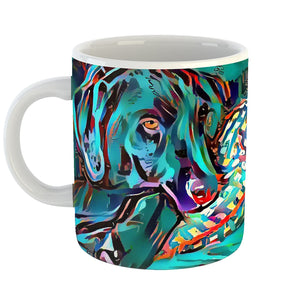 Dean Marten Art - Black Lab Laborador Lover Coffee Mug 11 oz - Modern Abstract Artwork for Home Office Decoration