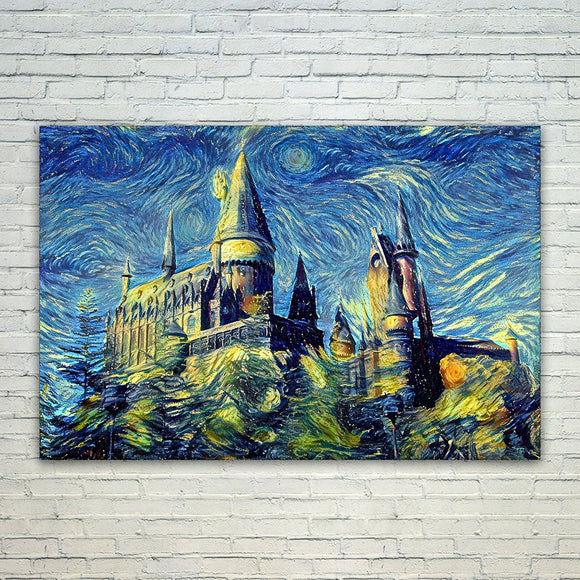 Hogwarts Castle 8x11 Art Print, Harry Potter Art, Van Gogh Starry Night Art, Fan, For Her, Birthday, Christmas Gift