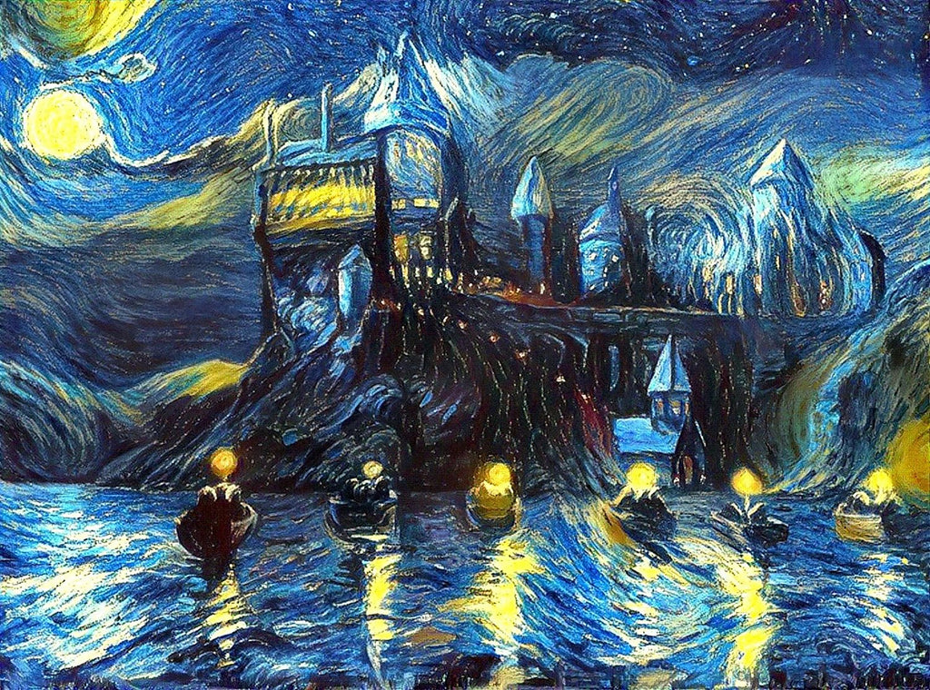 Hogwarts Castle 16x24 Art Print, Harry Potter Merchandise, Van Gogh Starry Night, Fan, Birthday, Christmas Gift