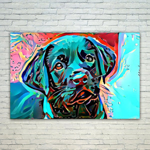 Dean Marten Art - Black Lab Laborador Lover 11x17in Modern Poster Prints Artwork Abstract Paintings Pictures Printed Wall Art for Home Office Decorations
