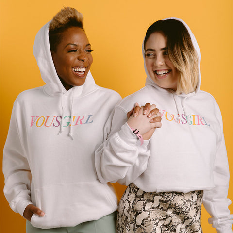 VOUS GIRL Rainbow White Hoodie