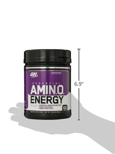 Optimum Nutrition Amino Energy, Concord Grape, Preworkout and Essential Amino Acids with Green Tea and Green Coffee Extract, 65 Servings