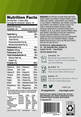 Vega One Organic All-in-One Shake, Plant Based Non Dairy Protein Powder, Berry, 18 Servings, 24.3 oz