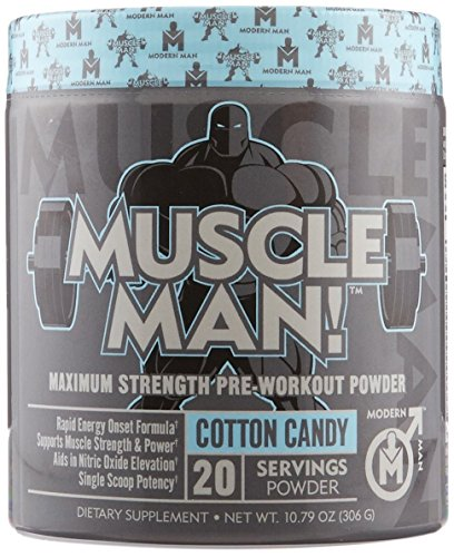 MUSCLE MAN Preworkout Supplement for Men – Muscle Builder & Pre Workout Powder, Nitric Oxide Booster with Alpha GPC, Creatine HCL & Beta Alanine for Raw Power, Cotton Candy, 306G