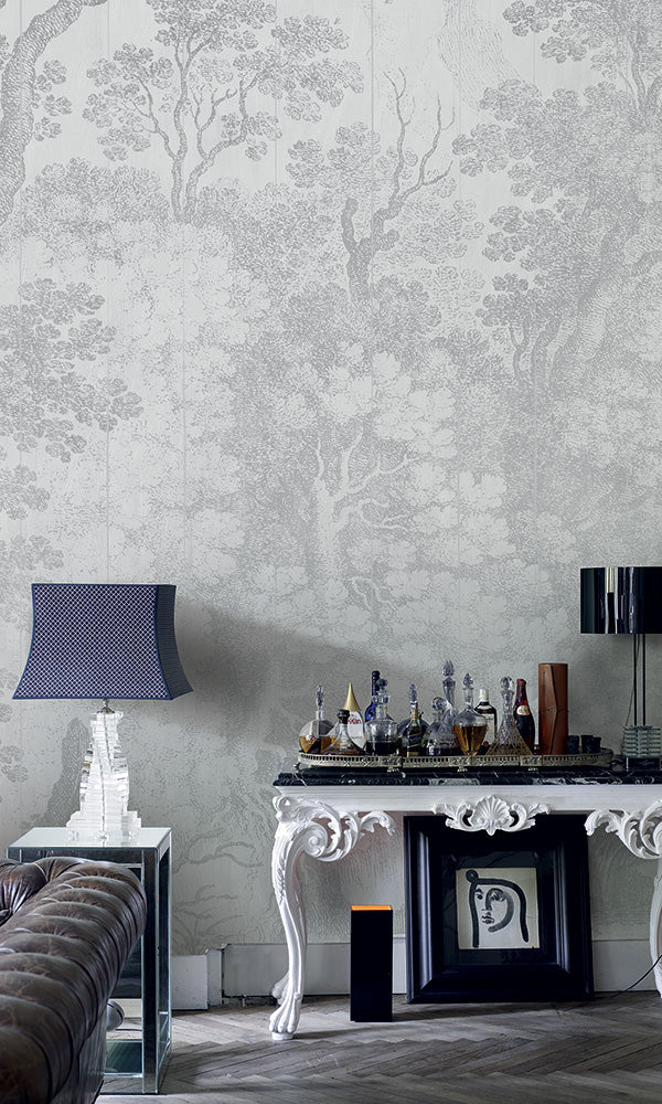Grey Engraved Forest Scene Mural M9426 | Digital Art Wallpaper
