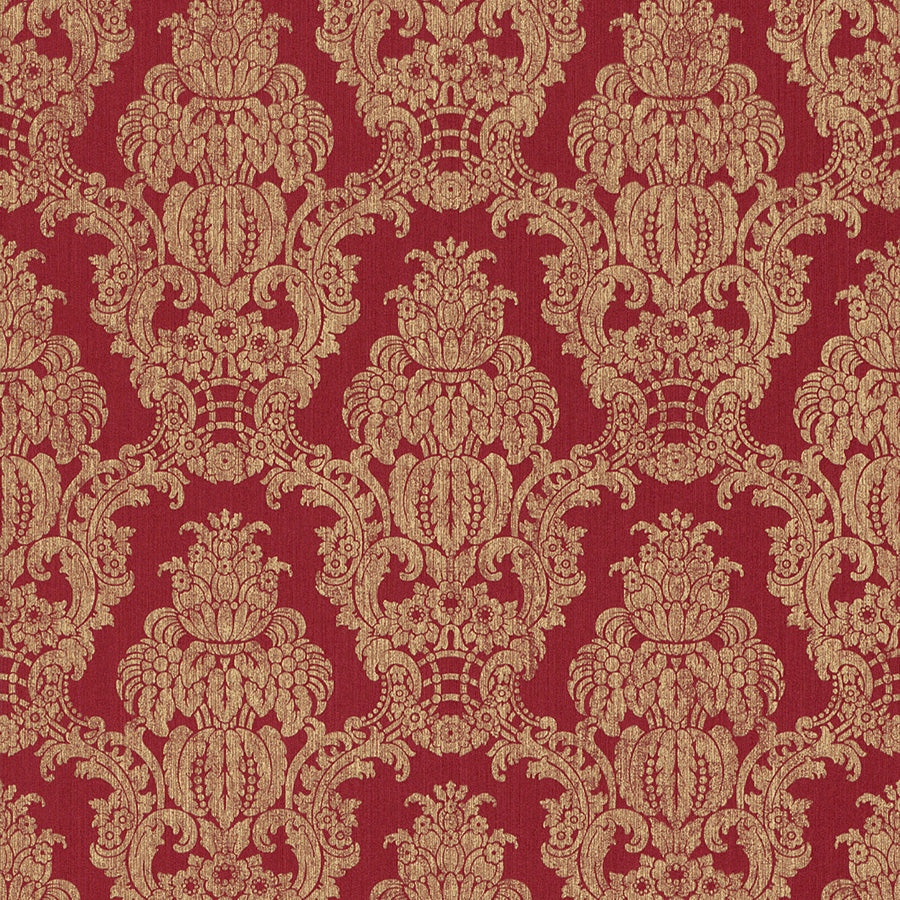 Red Damask Wallpaper R3225 | Traditional Home Interior