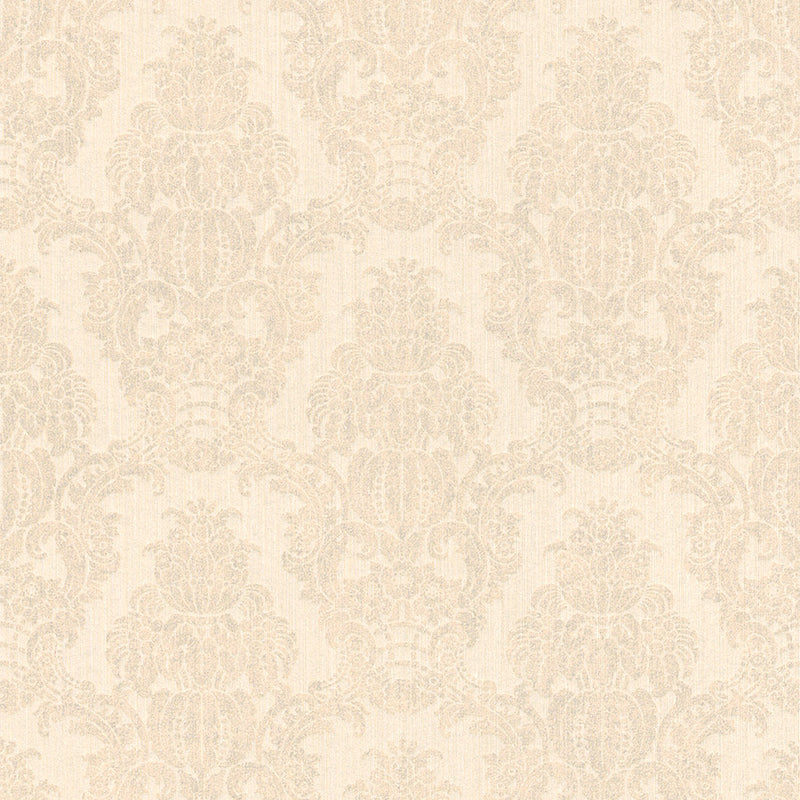 Beige Damask Wallpaper R3224 | Traditional Home Interior