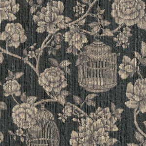 dark vintage floral wallpaper, Dark Floral Vintage Yarn Wallpaper R3245 | Luxury Living Room Design