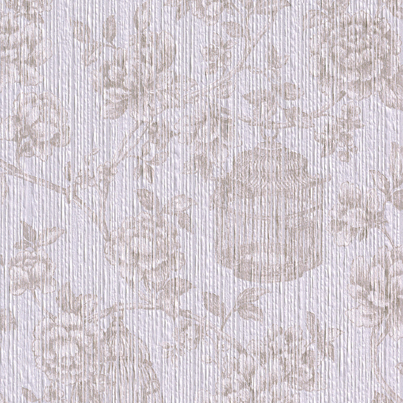 vintage floral wallpaper Beige Floral Yarn Wallpaper R3243  | Vintage Bedroom Interior