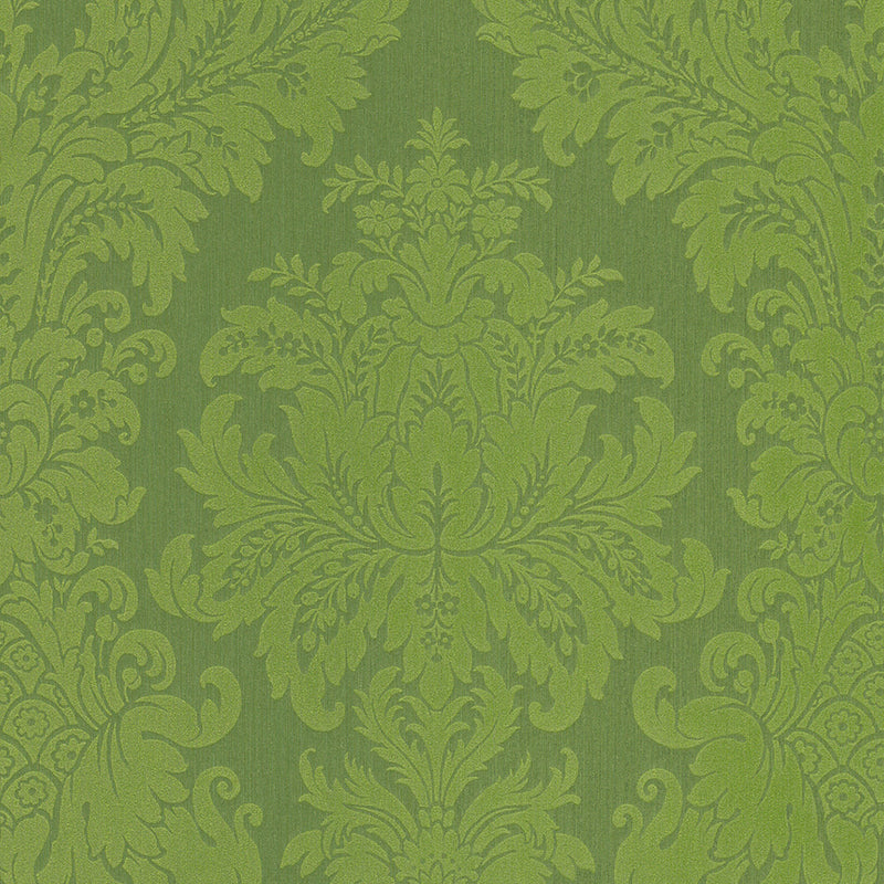 Traditional Grand Floral Damask Lime Green Wallpaper R4150