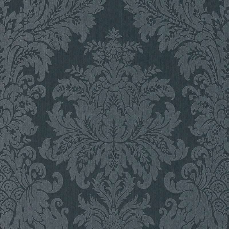 Traditional Grand Floral Damask Black and Grey Wallpaper R4154