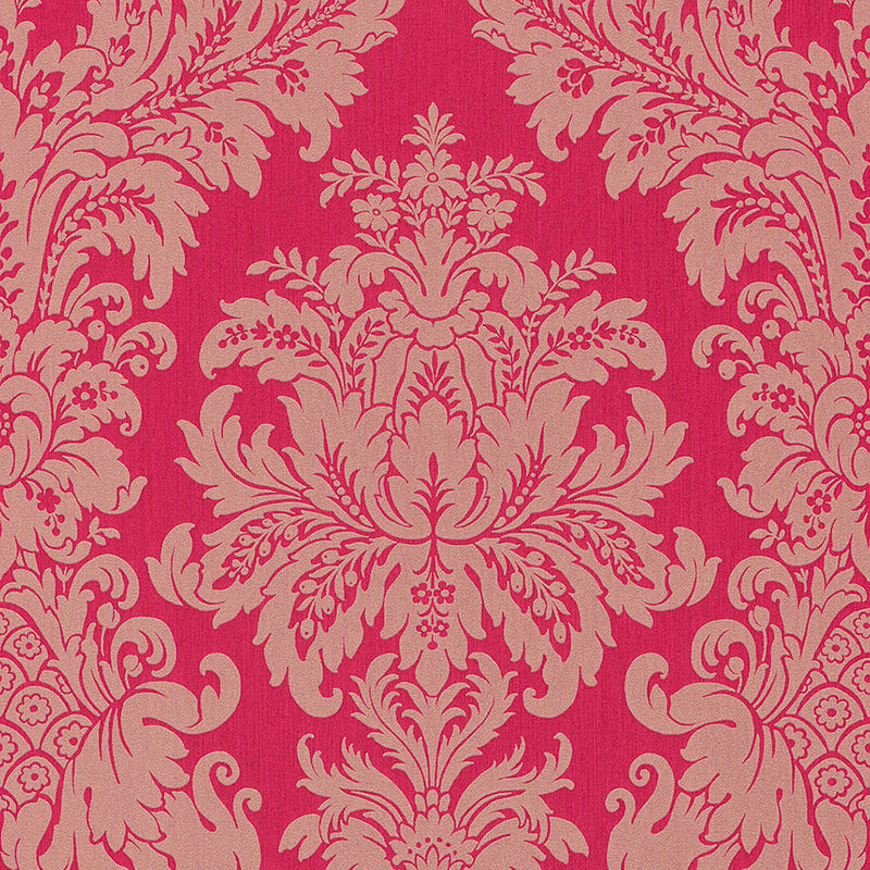 Traditional Grand Floral Damask Fuchsia and Beige Wallpaper R4151