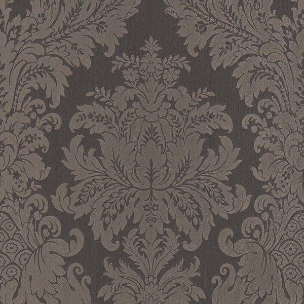 Traditional Grand Floral Damask Grey Wallpaper R4149