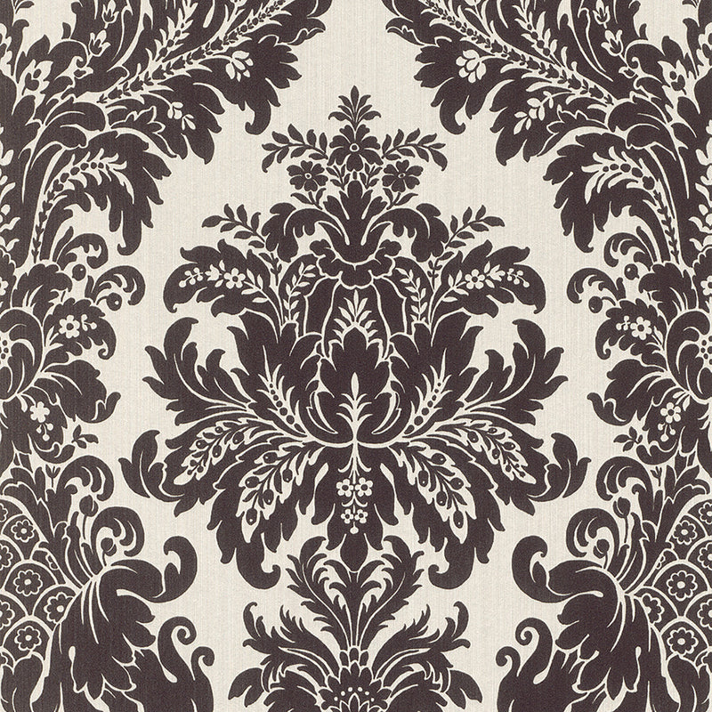 Traditional Grand Floral Damask White and Black Wallpaper R4152