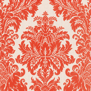 Traditional Grand Floral Damask White and Red Wallpaper R4153