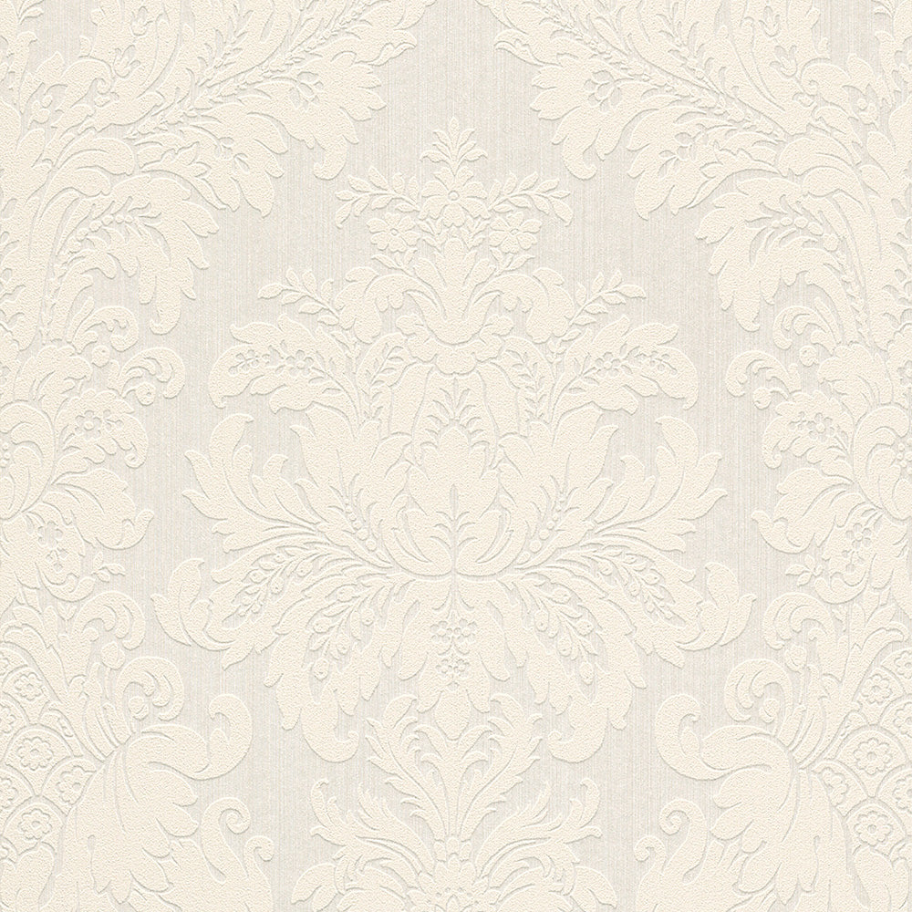 Traditional Grand Floral Damask White Wallpaper R4156