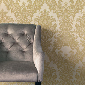 Traditional Grand Floral Damask Beige and Yellow Wallpaper R4158