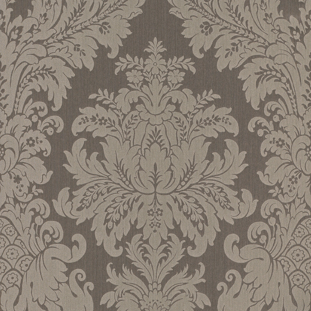 Traditional Grand Floral Damask Taupe Wallpaper R4159