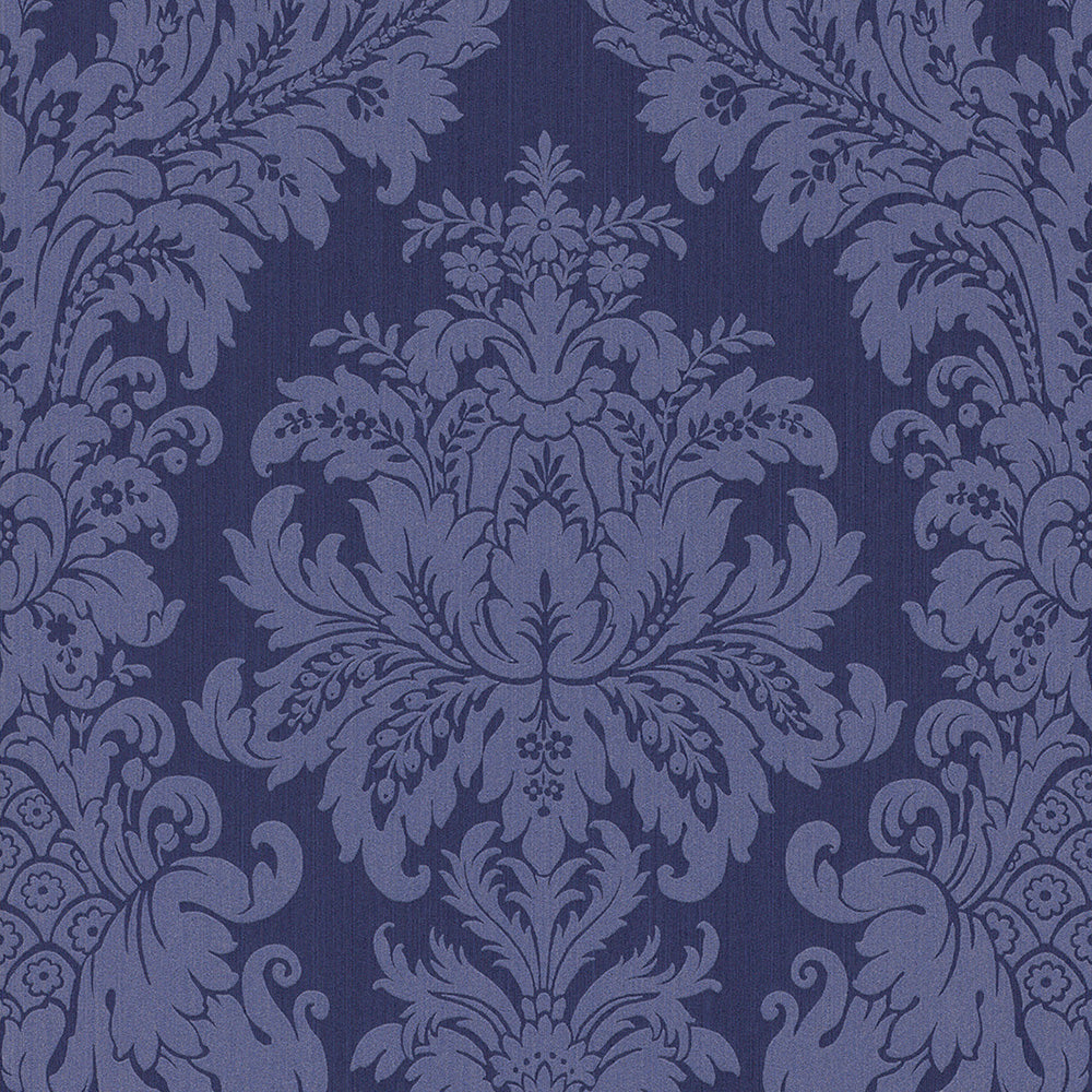Traditional Grand Floral Damask Deep Purple Wallpaper R4155