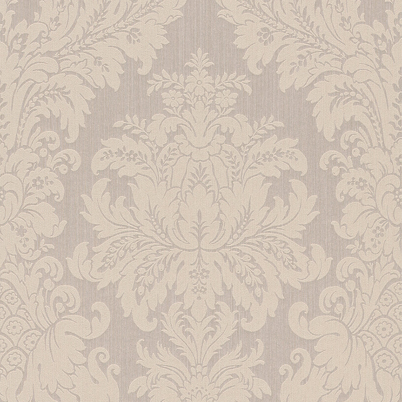 Traditional Grand Floral Damask Beige Wallpaper R4157
