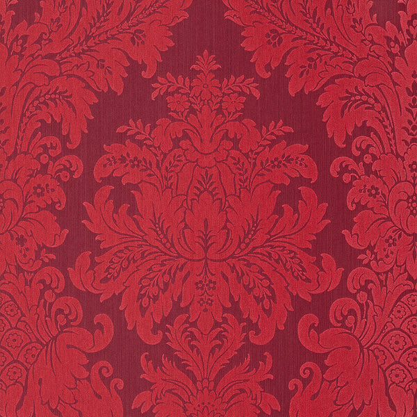 Traditional Grand Floral Damask Maroon Wallpaper R4160