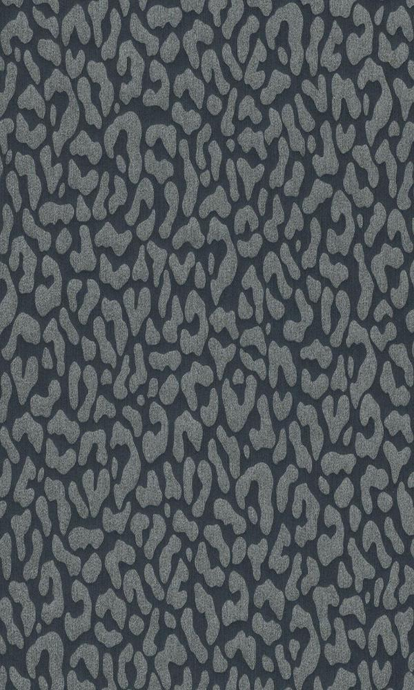 Contemporary Faux Leopard Print Black And Grey Wallpaper
