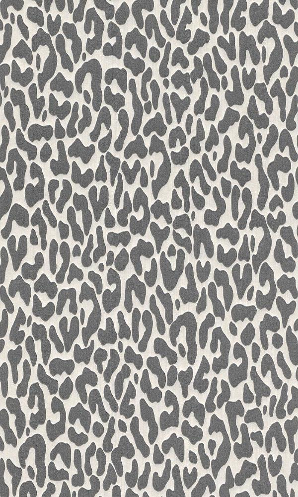 Contemporary Faux Leopard Print White and Grey Wallpaper R4163