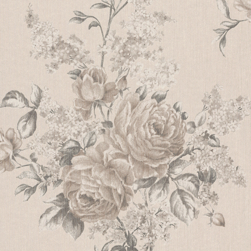 Classic Beige Floral Wallpaper R4131 Traditional Home Interior