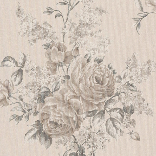 Floral Botanical Classic Beige and Taupe Wallpaper R4131