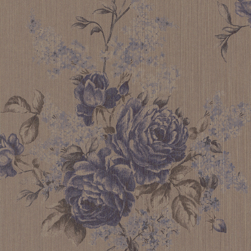 Floral Botanical Classic Taupe and Purple Wallpaper R4130