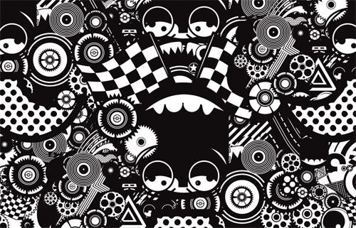 Black & White Races  Mural M9054 | Digital Art Wallpaper